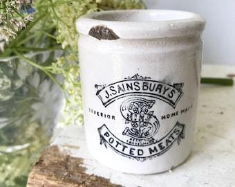 An antique advertising croc jar Sainsburys potted Meat jar