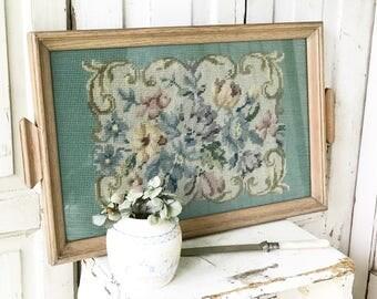 A beautiful needlepoint and oak glazed tray