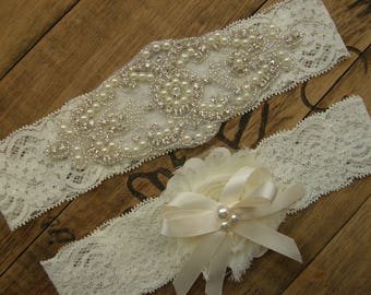 Wedding Garters, Ivory Bridal Garter Set, Crystal Rhinestone &Pearl, Vintage Inspired Garter, Ivory , Vintage Lace Garter