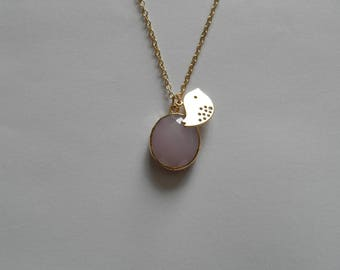 Pink Oval Pendant and gold bird necklace