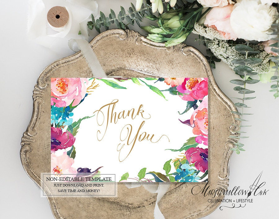 Wedding Thank you Cards Thank you Card Printable, Bridesmaid Thank You Baby Shower Thank You Cards, DIY Bridal Shower Thank You Gift Cards