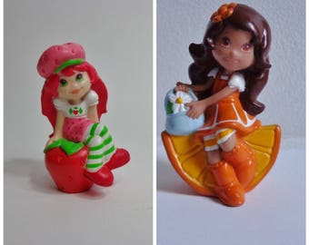 New Strawberry Shortcake or Orange Blossom Mini Toy Novelty Cake Topper Decoration PVC Cartoon Character Figure Collectible 80s 90s Cute