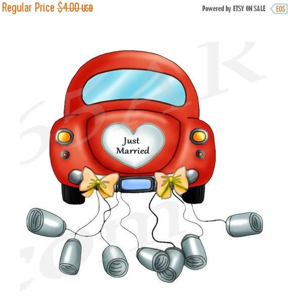 50 OFF Just Married Car Just Married Clipart Clip Art