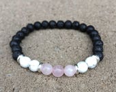 Calming, Anger Healing, Release Negativity, Anxiety, Aromatherapy Diffuser Bracelet with essential oil sample - Lava, Rose Quartz, Howlite