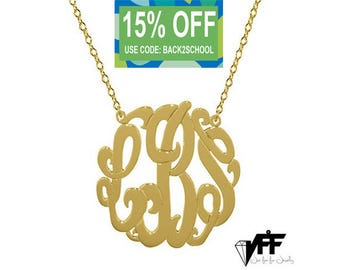 """Any initial gold Monogram necklace - gold monogram pendant 1.25"""" gold plated 18k on .925 silver"""