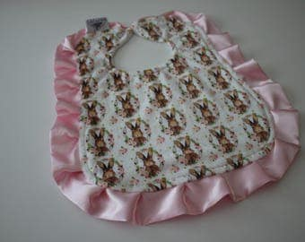 All Girl Bunny Bib with Soft Baby Pink Satin Trim, Pearl Snap Closure, Feeding, Nursing, Shower, Pink, Apple, Brown, Tan, White, Rabbit