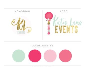 pre made logo-branding-marketing-logo design-premade logo-pink and gold logo-design-logo-gray-pink-gold