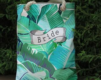 Monogram Tropical palm leaf Beach bag,wedding tote bag,bridal party,bride bridesmaid gift