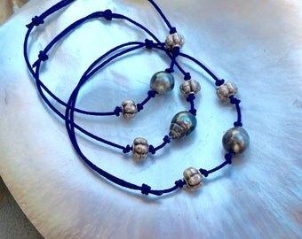 South Sea Pearl and Silver Beads Drawsting Bracelet