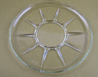 Vintage Glass Round Cake Plate Large Pressed Glass Serving Platter Glass Serving Plate