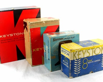 Set of 4 Vintage Keystone Camera boxes