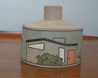 Mid Century Modern Ceramic Sculpture Vase with Vintage Style Houses