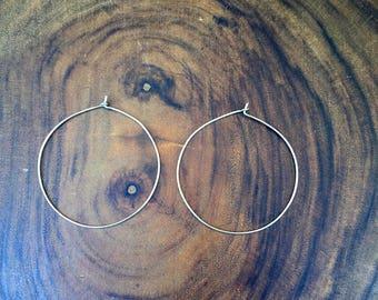 Sterling silver thin hoop earrings, silver hoops, hammered hoops, boho style earrings