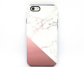iPhone 7 Case, iPhone 6 Case, iPhone 7 Plus Case, iPhone 8 Case, iPhone 6 Case, iPhone 7 Case tough, iPhone 6s, iPhone 7 - Rose Gold Marble