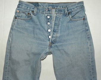"Levi's 501 Jeans / Faded / 501s / Vintage size 30 x 30 / measured 28 - 29"" x 29 / Vintage / Grunge / Boyfriend"