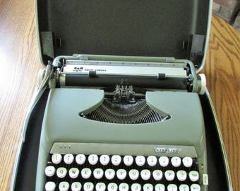 Vintage Smith Corona Blue Stormiest Sterling Manual Typewriter W/Hardcase