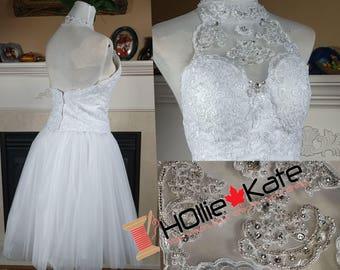 Short lace wedding dress, 2 piece wedding gown lace, plus size available
