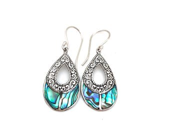 Sterling Silver Open Teardrop Bali Earrings