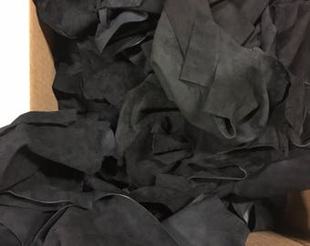 Lot of leather scraps black lamb suede hide skin - 13 oz