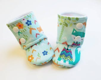 Baby Booties, Baby Gifts, Stay-on Booties, Fabric Boots, Trendy Baby Boots, Fox Slippers, Baby Girl, Baby Boy, Animal Booties, Fox Booties