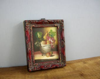 Vintage Oil Painting Miniature Still Life, Verilyn Gallery, Spain 1960s, Unsigned, Bowl of Fruit