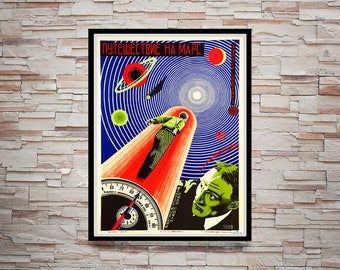 Reprint of a Russian space race Poster