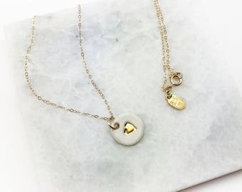 Heart Charm Necklace - in 22k Gold Luster Overglaze on Ceramic Stoneware Includes Chain