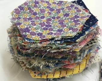 Huge Lot Feedsack and Vintage Diamond and Hexagon Quilt Pieces