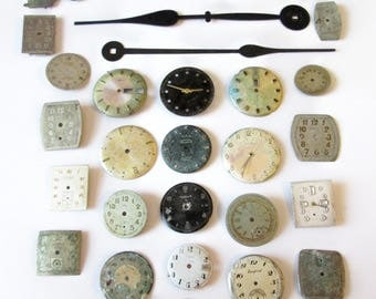 25 Assorted Vintage Wrist Watch Dials for your Watch Projects, Steampunk Art, Jewelry Making, and Etc...