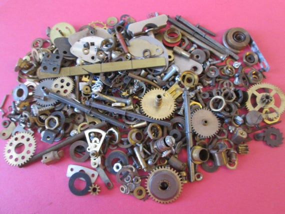 Steampunker's Dream Lot - Large Assortment of Antique & Vintage Clock Parts, Watch Parts, Hardware -  Make Jewelry
