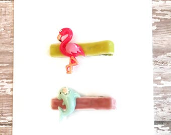 Baby/Child/Toddler/Girl's Flamingo and Dolphin Alligator Hair Clip Set