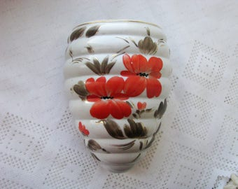 Vintage Ceramic porcelain Hanging Vase - wall hanging planter - wall pocket -  flower vase - home decor - USSR