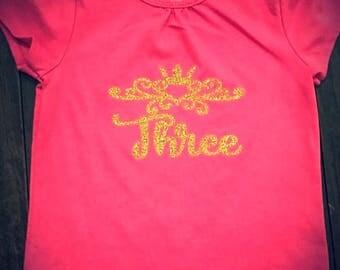 Princess THREE Birthday Shirt