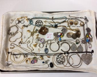 Lot #1 Costume Jewelry Goth Steampunk Rings Earrings Necklaces Wear/Repair Craft Supplies