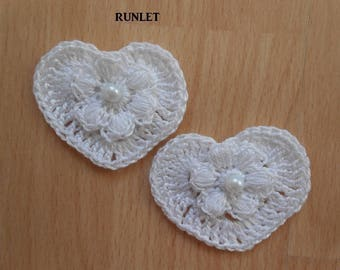 white cotton crochet hearts
