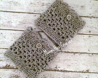Handmade Boot Cuffs Gray Aran Tweed Silver Button Scallop Grey Leg Warmers Crochet