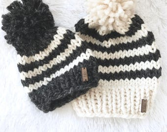 Chunky Knit Striped Slouchy Hat with Pom | newborn, baby, toddler, child,  Cream Fisherman/Charcoal Grey | THE BANDA