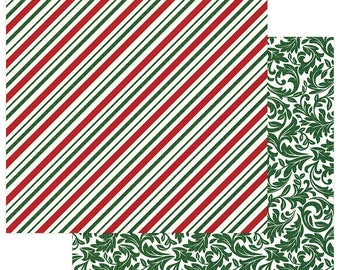 2 Sheets of Photo Play Paper MAD 4 PLAID CHRISTMAS 12x12 Scrapbook Cardstock - Candy Cane
