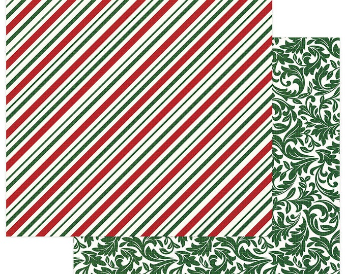 2 Sheets of Photo Play MAD 4 PLAID CHRISTMAS 12x12 Scrapbook Cardstock Paper - Candy Cane