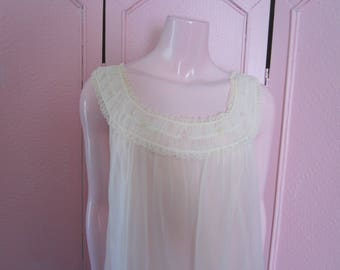 """1960s Pale Pink Nylon Nightgown by """"Gotham Lingerie,"""" Size M"""
