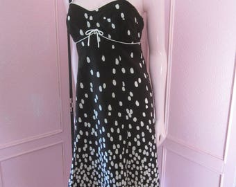 "1970s Black and White Polka Dot Sundress by ""R & K Originals,"" Size 6"