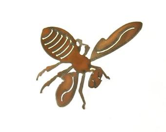 Bumble Bee Origami Folded Rusted Metal Figurine