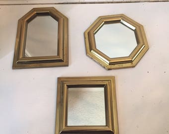 Vintage Brass Wall Mirrors - Set of 3 Small Wall Mirrors - Wall Decor