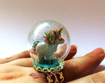 Magical Unicorn, Unicorn Glitter Glass Globe Ring, Unicorn Fairy Dust Statement Ring, Fairy Tale Quirky Jewelry, Glass Dome Ring by Milushka