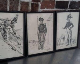 3 Vintage Troop Military black and White Sketches Prints Frames Soldiers Uniform
