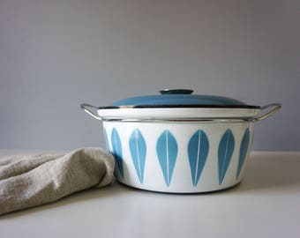 Vintage Cathrineholm Norway Lotus Large Pot - Blue on white - Brand new Mid Century Modern Enamelware Kitchen Decor - Scandinavian
