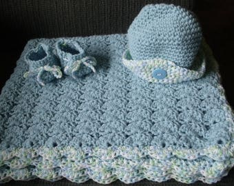 Baby afghan,hat,booties,blue with verigated accents..boy or girl
