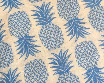 Blue PINEAPPLE print cotton voile fabric