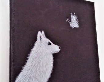 Fox and the Moth Original Painting - White Fox/Arctic Fox/White Moth/Fox Art/Moth Art/Original Art/Small Painting/Acrylic Painting
