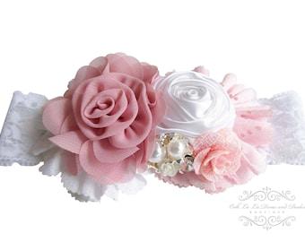 Blush Pink Dusty Rose Headband/Baby Headband/Baby Girl Headband/Newborn Headband/Baby Shower Gift Girl/Girls Headband/Girl Headband Baby